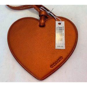 Cute Coach Heart Key Fob in Copper Leather NWT!